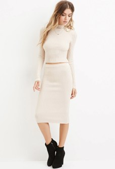 Ribbed Knit Mock Neck Sweater